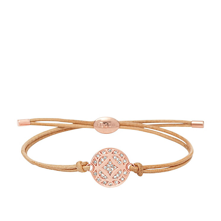 Fossil rose gold-tone & leather stone set bracelet - Product number 3061248
