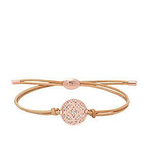 Fossil rose gold-plated & leather stone set bracelet - Product number 3061248