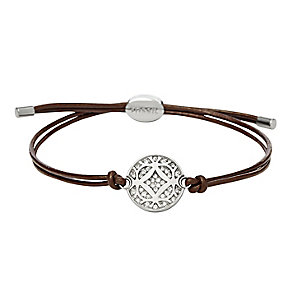 Fossil stainless steel & leather stone set bracelet - Product number 3061256