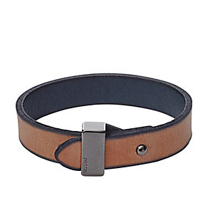 Fossil men's stainless steel and leather casual bracelet - Product number 3061264