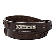Fossil men's stainless steel & leather double bracelet - Product number 3061272