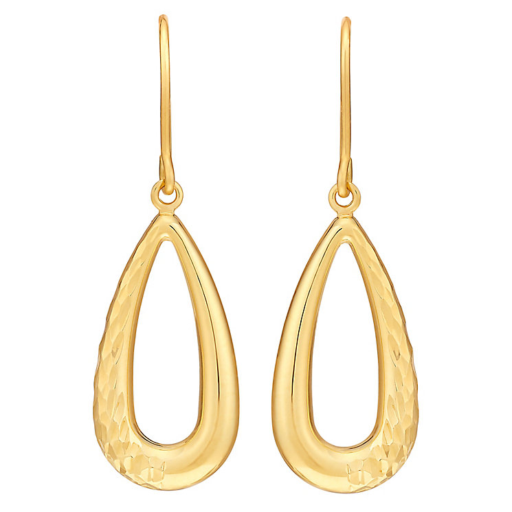 9ct Yellow Gold Diamond Cut Open Teardrop Drop Earrings - Product number 3061426