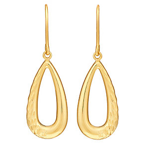 9ct Yellow Gold Diamond Cut Open Teardrop Drop Earrings - Product number 3061426