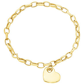 9ct gold heart charm bracelet - Product number 3061442