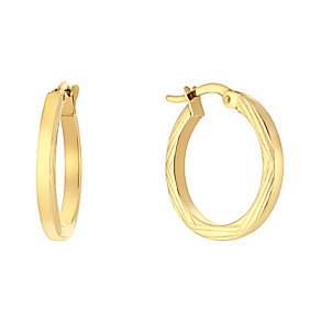 9ct yellow gold bamboo cut small creole earrings - Product number 3061469