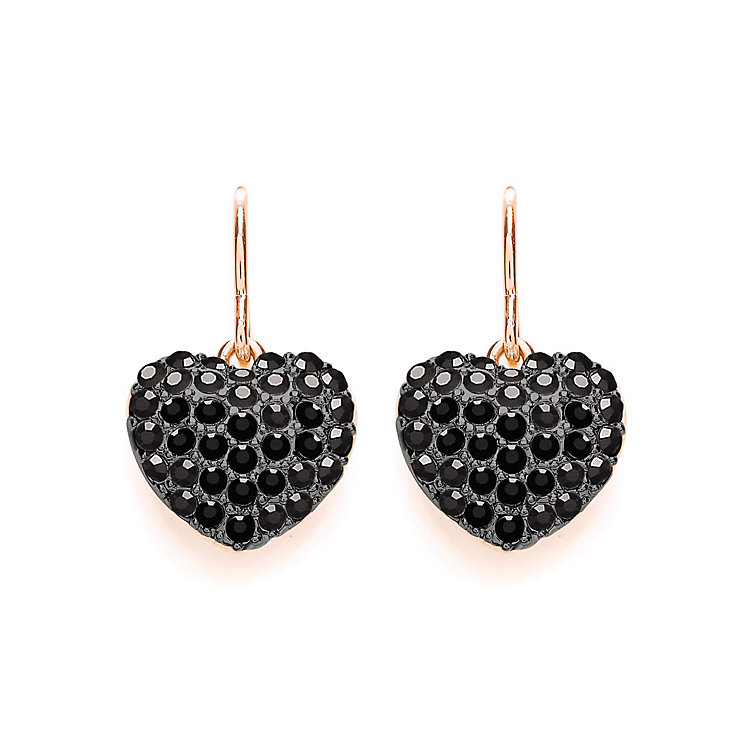 Buckley Rose Gold Plated Black Crystal Heart Drop Earrings - Product number 3061493