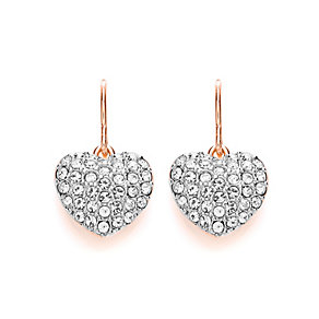 Buckley Rose Gold Plated Clear Crystal Heart Drop Earrings - Product number 3061515