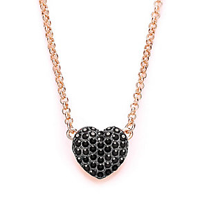 Buckley Rose Gold Plated Black Crystal Heart Drop Pedant - Product number 3061558