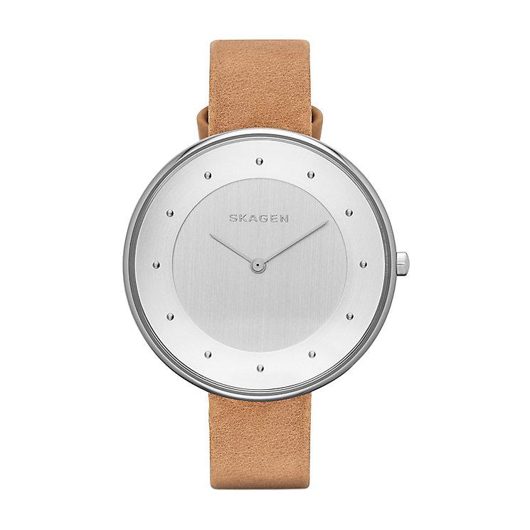 Skagen Gitte Ladies' Stainless Steel Tan Leather Strap Watch - Product number 3061590