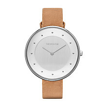 Skagen Gitte Ladies' Stainless Steel Tan Leather Strap Watch - Product number 3061590