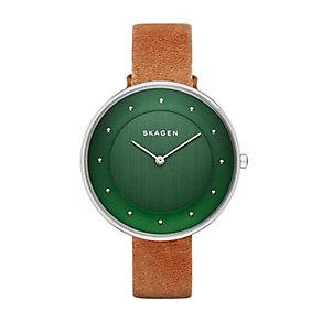 Skagen Gitte ladies' stainless steel tan leather strap watch - Product number 3061604
