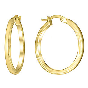 9ct yellow gold bamboo cut medium creole earrings - Product number 3061612