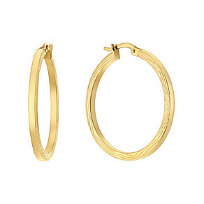 9ct yellow gold bamboo cut large creole earrings - Product number 3061620