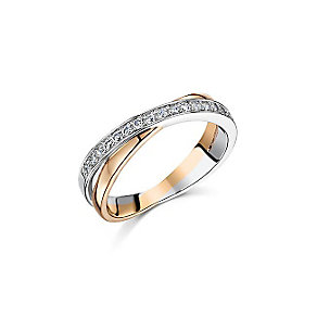 Buckley Rose Gold Plate & Cubic Zirconia Crossover Ring - Product number 3061736