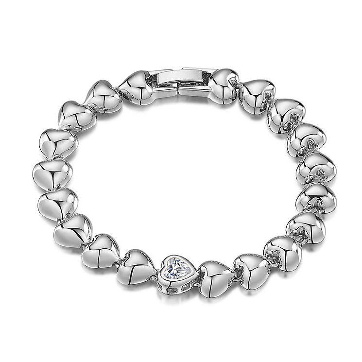 Buckley Rhodium Plated Crystal Set Heart Bead Bracelet - Product number 3061752