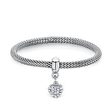 Buckley Rhodium-Plated Stone Set Heart Charm Mesh Bracelet - Product number 3061760