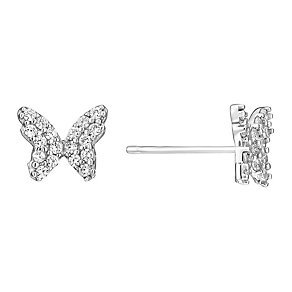 9ct white gold pave cubic zirconia butterfly stud earrings - Product number 3061809