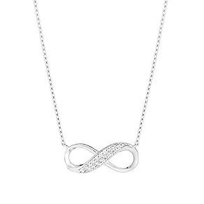 9ct white gold cubic zirconia infinity necklet - Product number 3061825