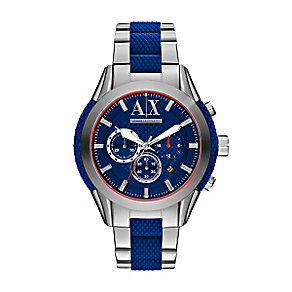 Armani Exchange Men's Stainless Steel & Blue Silicone Watch - Product number 3062015