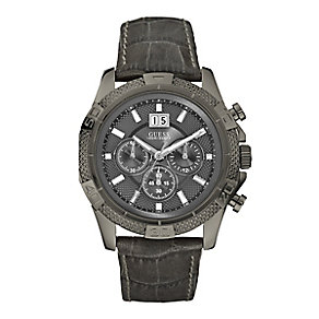 Guess Men's Grey Leather Strap Watch - Product number 3062074