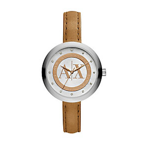Armani Exchange Ladies' Brown Leather Slim Strap Watch - Product number 3062201