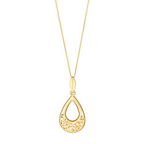 9ct gold flower cutout teardrop drop pendant - Product number 3062236