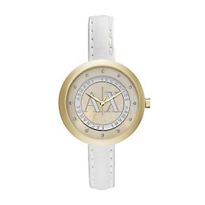Armani Exchange Ladies' White Leather Slim Strap Watch - Product number 3062244