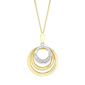 9ct yellow & white gold cubic zirconia triple circle pendant - Product number 3062260