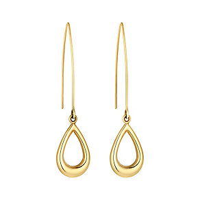 9ct yellow gold open teardrop long hook drop earrings - Product number 3062287