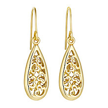 9ct yellow gold heart cutout teardrop drop earrings - Product number 3062325
