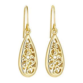 9ct yellow gold heart cutout teardrop drop earrings - Product number 3062325