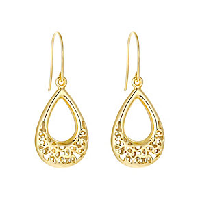 9ct yellow gold flower cutout teardrop drop earrings - Product number 3062333