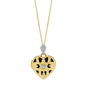 9ct gold diamond kite bail cutout heart locket - Product number 3062384