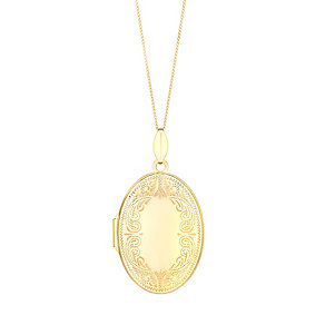 9ct gold scroll design oval locket - Product number 3062422