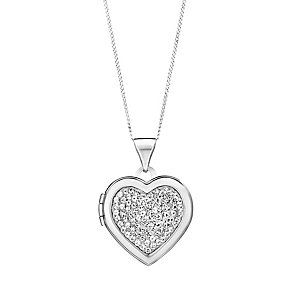 9ct white gold crystal heart locket - Product number 3062449