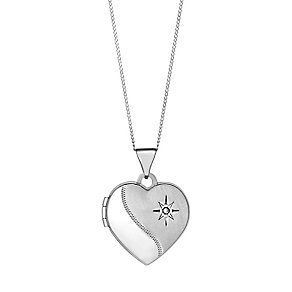 9ct white gold diamond half polished heart locket - Product number 3062503