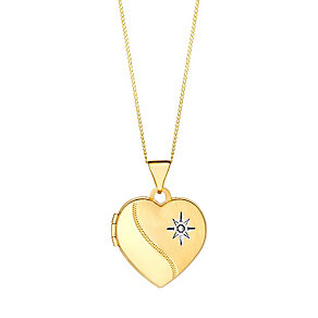 9ct gold diamond half polished heart locket - Product number 3062511