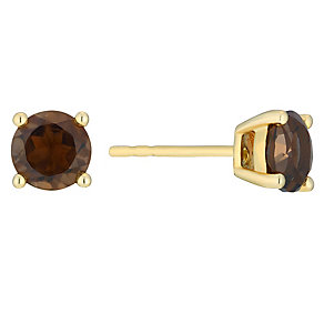 9ct yellow gold smokey quartz stud earrings - Product number 3062716