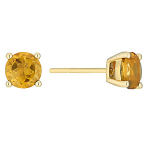 9ct yellow gold citrine stud earrings - Product number 3062791