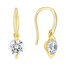 9ct gold 6.5mm Swarovski zirconia solitaire drop earrings - Product number 3062880