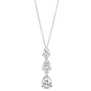 9ct white gold cubic zirconia triple teardop pendant - Product number 3063038