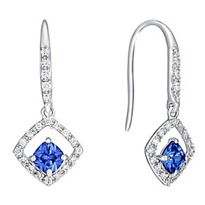 9ct white gold cubic zirconia drop earrings - Product number 3063062