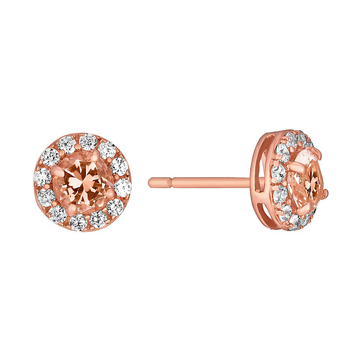 9ct rose gold simulated morganite & cubic zirconia earrings - Product number 3063097