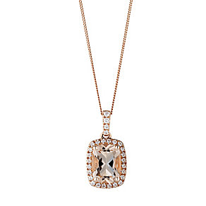 9ct rose gold simulated morganite & cubic zirconia pendant - Product number 3063135