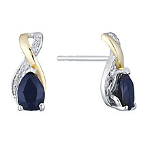 Silver & 9ct Yellow Gold Diamond & Sapphire Twist Earrings - Product number 3063178