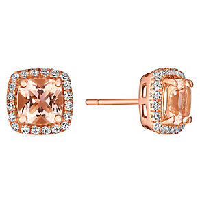9ct rose gold simulated morganite & cubic zirconia earrings - Product number 3063186