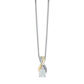 9ct Gold and Silver Opal and Diamond Set Pendant - Product number 3063194