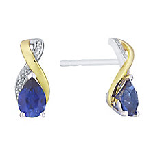 Silver & 9ct Yellow Gold Diamond & Created Tanzanite Earring - Product number 3063453