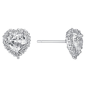 9ct white gold cubic zirconia heart stud earrings - Product number 3063461