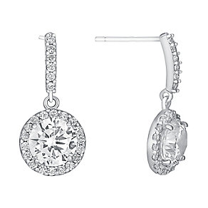 9ct white gold cubic zirconia vintage drop earrings - Product number 3063488